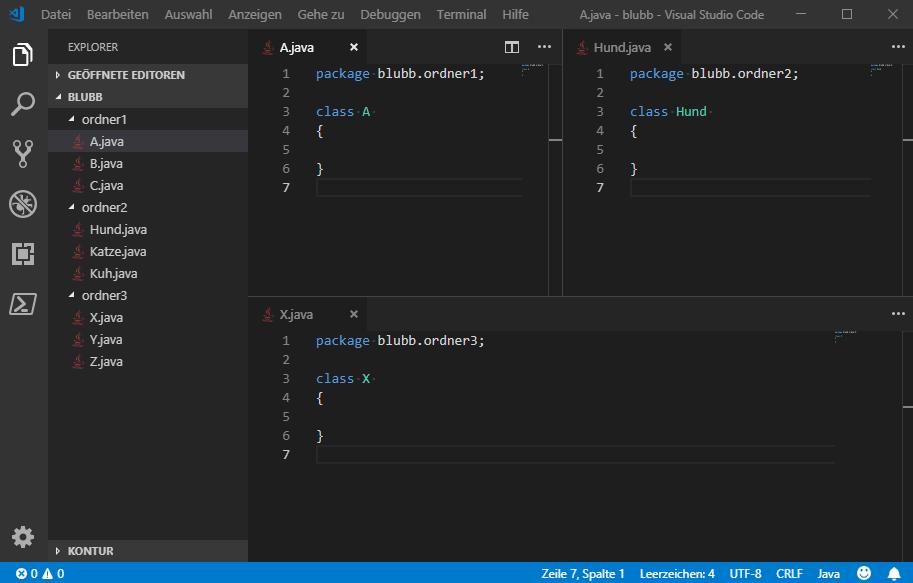 Wie beim vorigen Screenshot von VisualStudioCode. Dieses mal haben die geöffneten Beispieldateien angepasste Paketnamen wie zum Beispiel blubb.ordner1. Ende gut, alles gut.