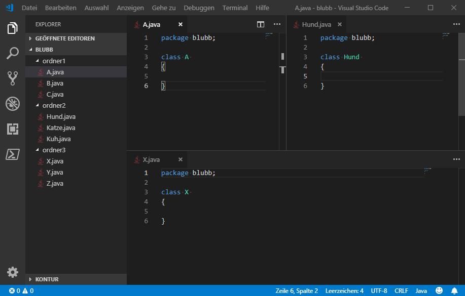 """Screenshot eines VisualStudioCode-Fensters. Am linken Rand ist eine Ordnerstruktur zu erkennen: Der übergeordnete Ordner namens Blubb mit seinen Unterordnern ordner1 bis ordner3, in denen jeweils 3 unterschiedliche Java-Dateien sind. Im Hauptteil des Fensters wird aus dem jeweiligen Ordner der Inhalt einer Java-Datei angezeigt, die alle das Paket namens """"blubb"""" haben."""